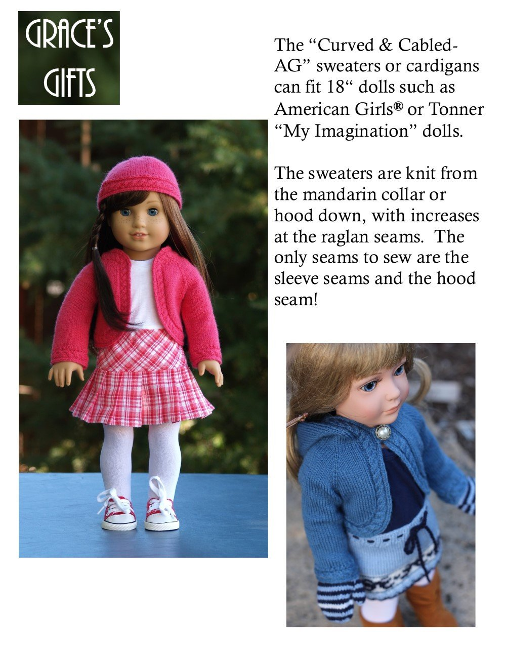 7434d1eb9 Grace s Gifts Curved and Cabled Doll Clothes Pattern 18 inch ...