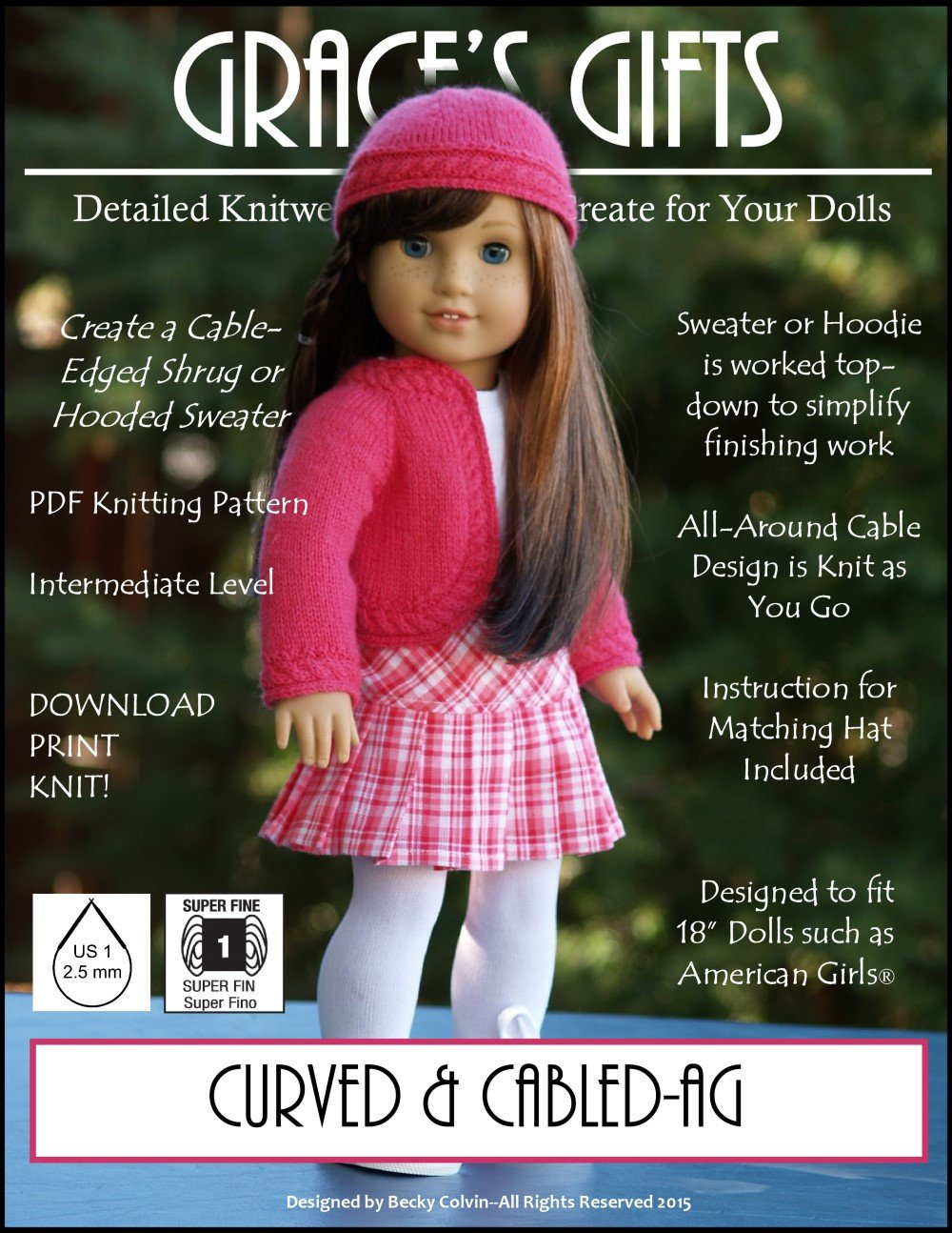Grace\'s Gifts Curved and Cabled Doll Clothes Pattern 18 inch ...