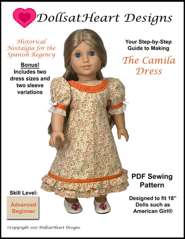 "Camila's Regency Dress 18"" Doll Clothes Pattern"