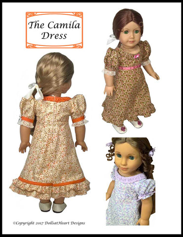 "The Camila Dress 18"" Doll Clothes Pattern"