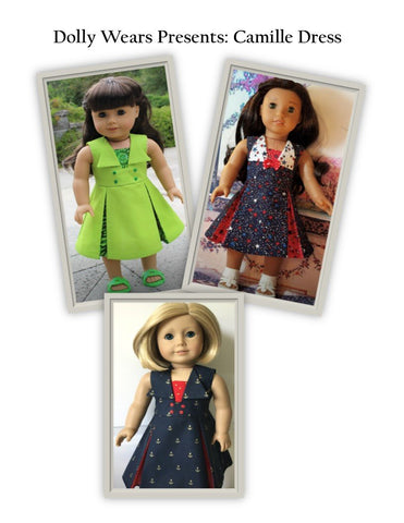 pdf doll clothes pattern Dolly Wears Camille Dress designed to fit 18 inch dolls such as American Girl