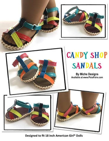 PDF Doll Clothes Sewing pattern saltwater sandals candy shop sandals designed to fit 18 inch American Girl dolls
