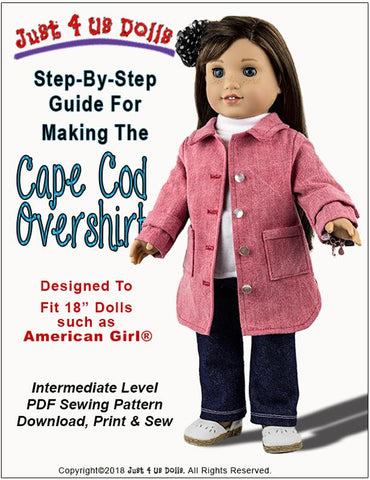 Cape Cod Overshirt 18 inch Doll Clothes Pattern