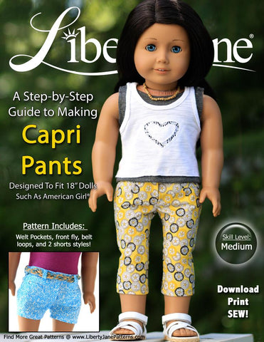 "Liberty Jane 18 Inch Modern Capri and Shorts 18"" Doll Clothes Pattern Pixie Faire"