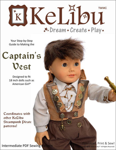 "Captain's Vest 18"" Doll Clothes"