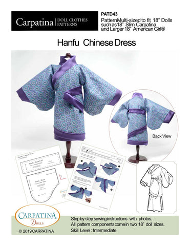 "Hanfu Chinese Dress Multi-sized Pattern for Regular and Slim 18"" Dolls"