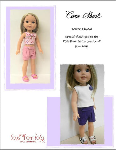 PDF doll clothes sewing pattern Love From Lola Cara Shorts designed to fit 14.5 inch WellieWishers dolls