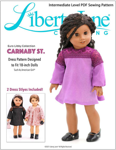 "Liberty Jane 18 Inch Modern Carnaby St. Dress 18"" Doll Clothes Pattern Pixie Faire"