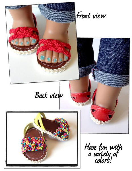 Carrick Bend Sandals 18 Inch Doll Shoes Pattern Pdf