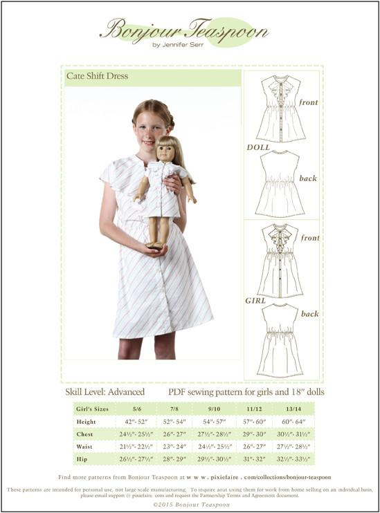 Bonjour Teaspoon Cate Shift Dress Sewing Pattern for Girls and 18 ...