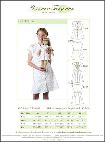 Bonjour Teaspoon Girls Cate Shift Dress for Girls and Dolls Bundle Pattern Pixie Faire