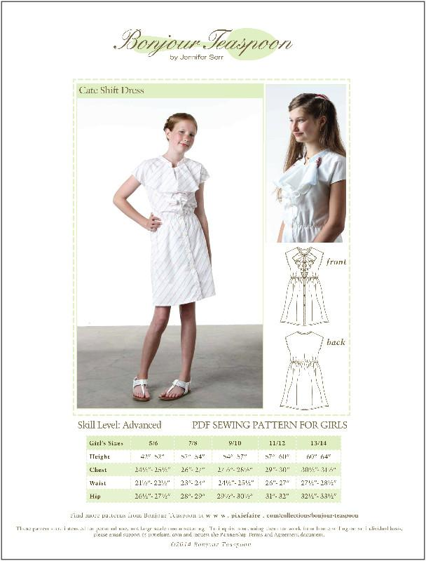 Bonjour Teaspoon Cate Shift Dress Sewing Pattern for Girls | Pixie Faire