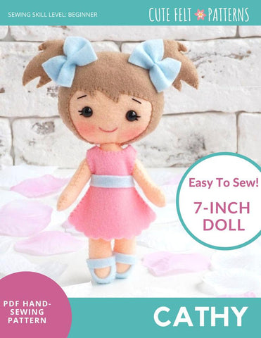 "Cute Felt Patterns Hand Sewing Cathy 7"" Felt Doll Hand Sewing Pattern Pixie Faire"