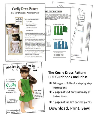 "Melody Valerie Couture 18 Inch Modern The Cecily Dress 18"" Doll Clothes Pixie Faire"