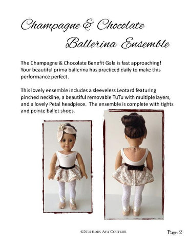 "Champagne Chocolate Ballerina Ensemble 18"" Doll Clothes"