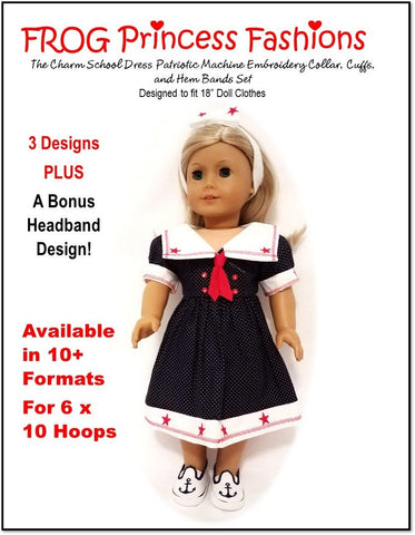 "Charm School Patriotic Collar, Cuffs and Hem Bands Machine Embroidery Design Set For 18"" Doll Clothes"