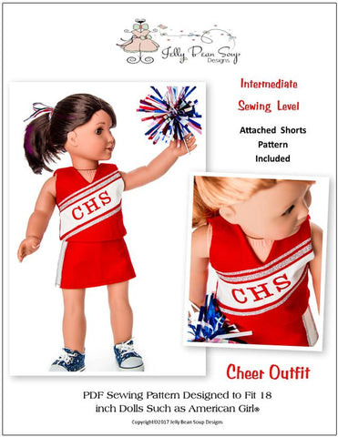 "Jelly Bean Soup Designs 18 Inch Modern Cheer Outfit 18"" Doll Clothes Pattern Pixie Faire"