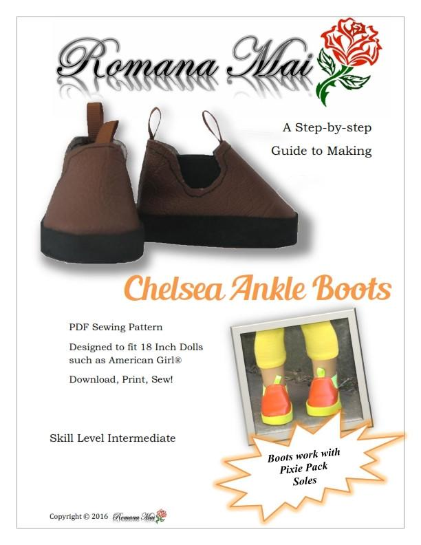 3bc2e0a37b314 Romana Mai Chelsea Ankle Boots Doll Clothes Pattern 18 inch American ...