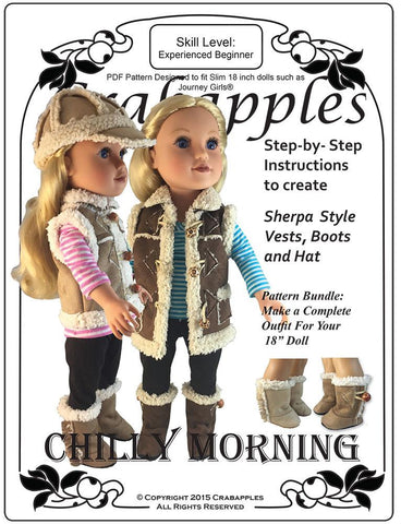 Chilly Morning Vest, Hat and Boot Bundle Pattern for Journey Girls Dolls