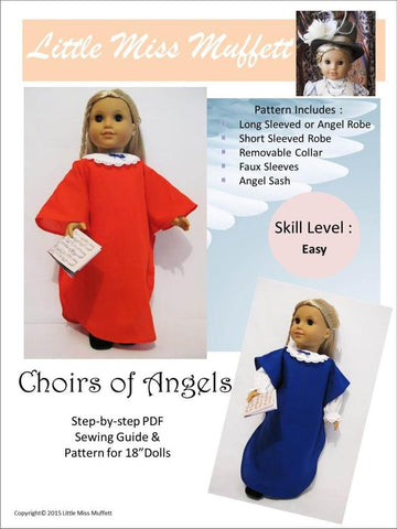 "Little Miss Muffett 18 Inch Modern Choirs of Angels 18"" Doll Clothes Pattern Pixie Faire"