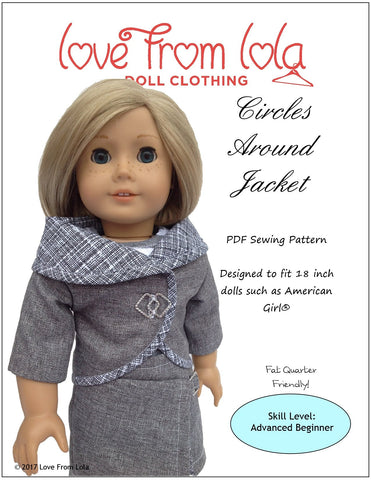 "Love From Lola 18 Inch Modern Circles Around Jacket 18"" Doll Clothes Pattern Pixie Faire"
