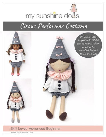PDF Doll clothes sewing pattern My Sunshine Dolls circus performer costume designed to fit 18 inch American Girl dolls