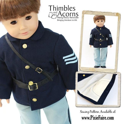 "1860 Civil War Uniform 18"" Doll Clothes Patterm"