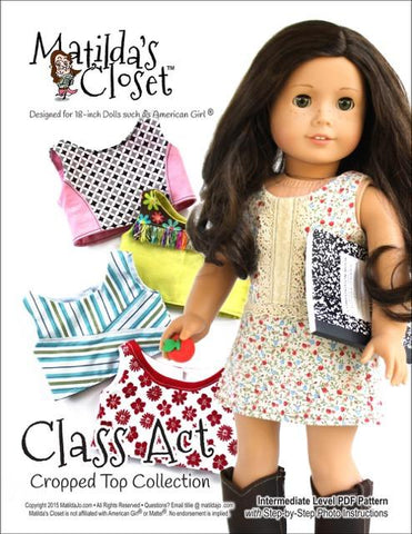 "Matilda's Closet 18 Inch Modern Class Act: Cropped Top Collection plus Bonus Simple Skort 18"" Doll Clothes Pixie Faire"