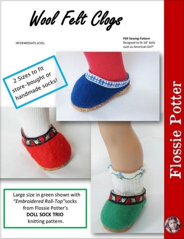 "Wool Felt Clogs 18"" Doll Clothes Pattern"