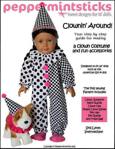 "Peppermintsticks 18 Inch Modern Clownin' Around! 18"" Doll Clothes Pattern Pixie Faire"