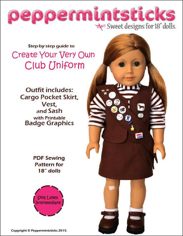 "Peppermintsticks 18 Inch Modern Club Uniform 18"" Doll Clothes Pattern Pixie Faire"