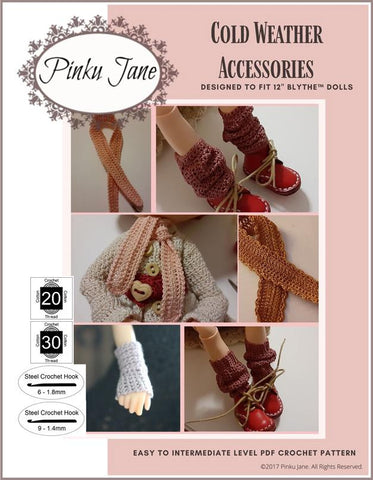 "Cold Weather Accessories Crochet Pattern For 12"" Blythe Dolls"