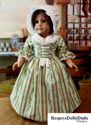 Keepers Dolly Duds Colonial Day Dress PDF doll clothes pattern designed to fit 18 inch American Girl dolls