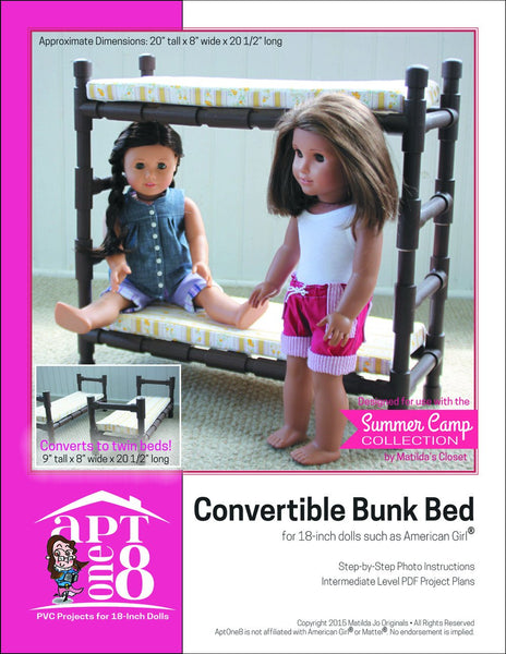 Aptone8 Convertible Bunk Bed Pattern 18 Inch Dolls Such As