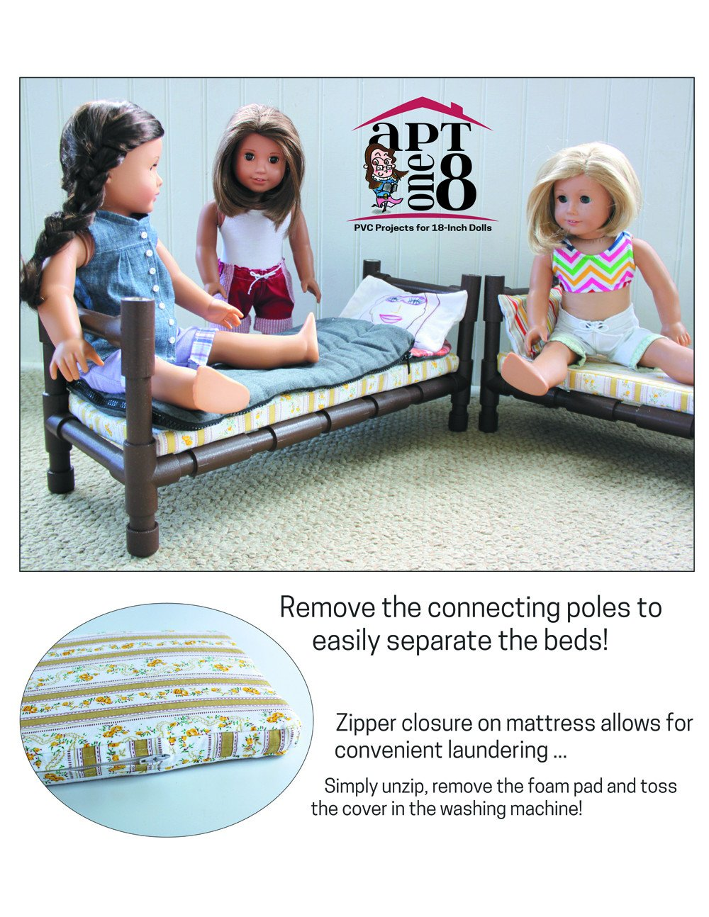 Aptone8 Convertible Bunk Bed Pattern 18 Inch Dolls Such As American