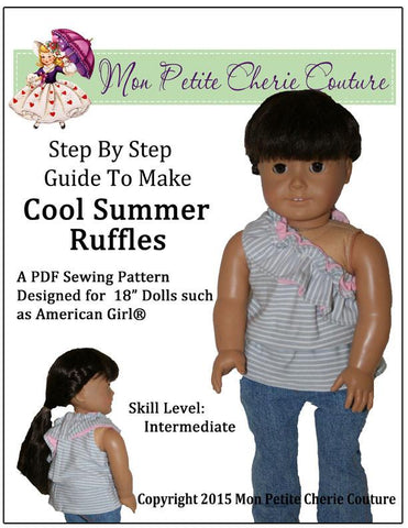 "Cool Summer Ruffles 18"" Doll Clothes Pattern"