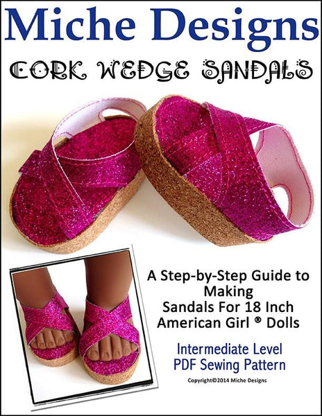 Miche Designs Cork Wedge Sandals 18 Inch Doll Clothes