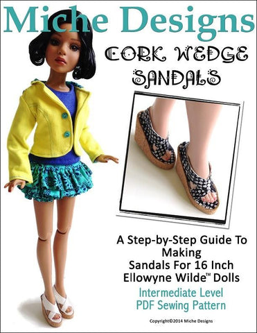 Cork Wedge Sandals for Ellowyne Dolls