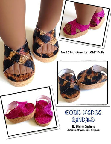 "Cork Wedge Sandals 18"" Doll Shoes"