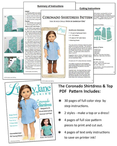 "Coronado Shirtdress and Top 18"" Doll Clothes Pattern"