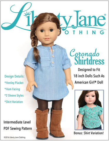 "Liberty Jane 18 Inch Modern Coronado Shirtdress and Top 18"" Doll Clothes Pattern Pixie Faire"