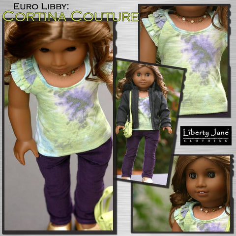 "Liberty Jane 18 Inch Modern Cortina Top 18"" Doll Clothes Pattern Pixie Faire"