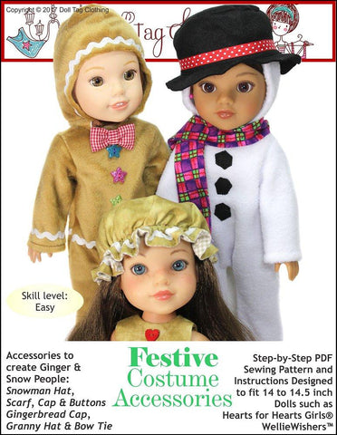 Doll Tag Clothing WellieWishers Festive Costume Accessories Pattern for 14 to 14.5 Inch Dolls Pixie Faire