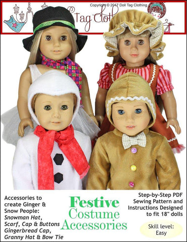 "Doll Tag Clothing 18 Inch Modern Festive Costume Accessories 18"" Doll Clothes Pattern Pixie Faire"