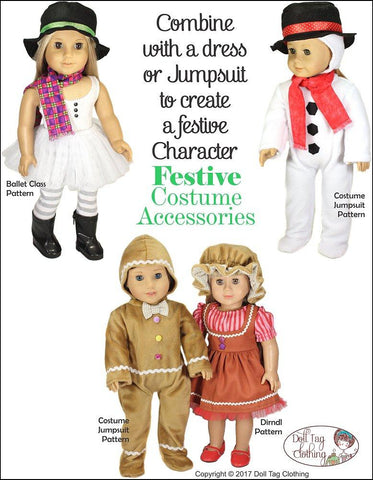 "Festive Costume Accessories 18"" Doll Clothes Pattern"
