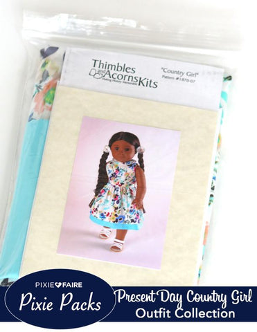 PIxie Packs - Country Girl Present Dress Thimbles and Acorns Collection