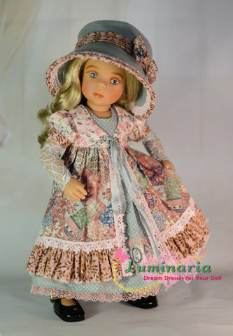 PDF sewing pattern Petitcollin Minouche Dolls Dress, Pinafore, Hat, Arm warmers, Footed stockings and Footless stockings.