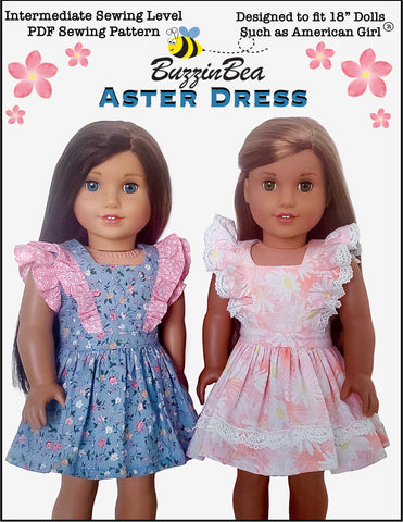 "BuzzinBea 18 Inch Modern Aster Dress 18"" Doll Clothes Pattern Pixie Faire"