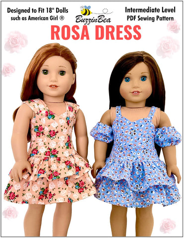 "Rosa Dress 18"" Doll Clothes Pattern"