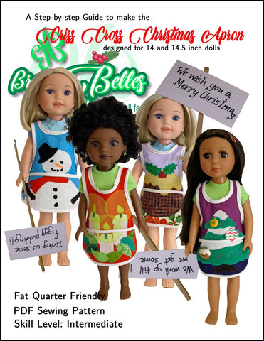 "Criss Cross Christmas Apron 14-14.5"" Doll Accessories Pattern"